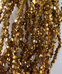 "4MM BICONE CRYSTAL STRAND 17"" METALLIC - GOLD"