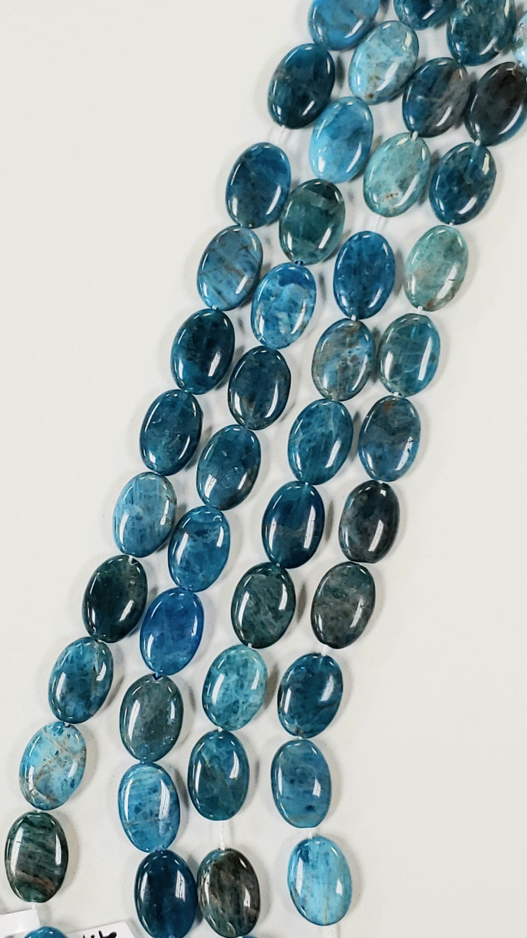 Blue Apatite Flat Oval Beads 10x14mm 7.5