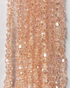 "3MM BICONE CRYSTAL STRAND 18.5"" - PALE PEACH AB"