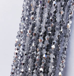"4MM BICONE CRYSTAL STRAND 17"" - DARK TAUPE"