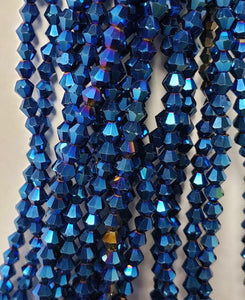 "4MM BICONE CRYSTAL STRAND 17"" METALLIC - ELECTRIC BLUE"