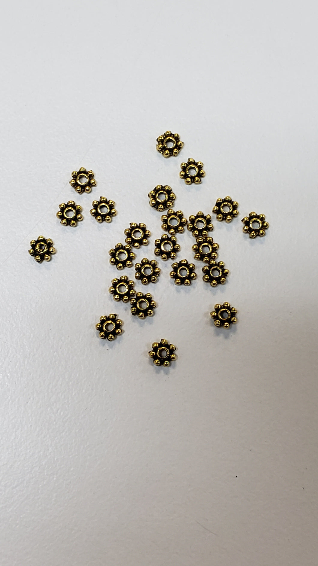 Pewter 1x4mm Gold Daisy Spacers