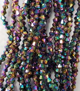 "3MM BICONE CRYSTAL STRAND 18.5"" METALLIC - PURPLE VITRAIL"