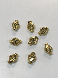 Pewter Gold 8x11mm Oval 2D beads Fluted