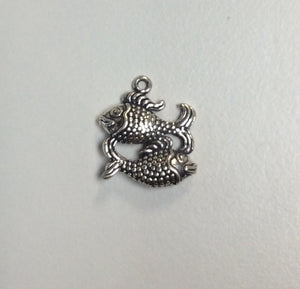 Sterling Silver Charm, Pisces 3D