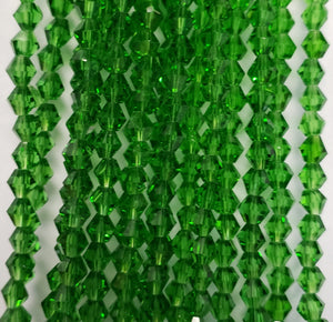 "4MM BICONE CRYSTAL STRAND 17"" - DIOPSIDE GREEN"
