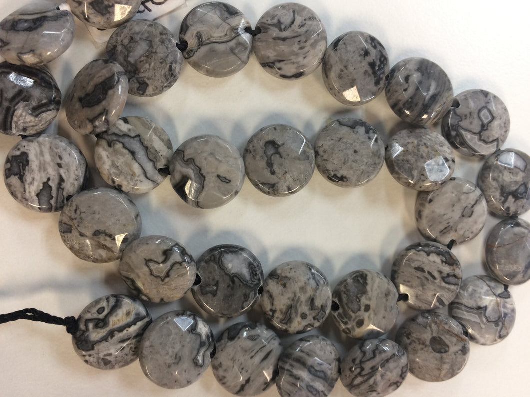 Crazy Lace Agate Coin Faceted Beads 11mm Round 15.5