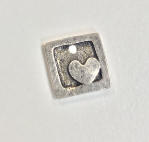Sterling Silver Charm, Framed Heart