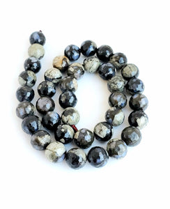 10mm Opal Grey / Black Faceted