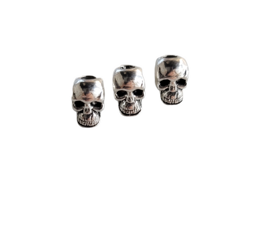 Skull Beads Pewter Vertical Drilled 9x5mm 10pcs