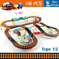 148pcs 3D Two-Layer Rail Train Set Engines Track Roller Electric Musical Railway Sound Light Car Toys