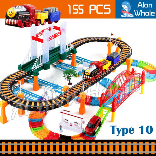 155pcs 3D Two-Layer Elevated Rail Bridge Train Kit Spiral Wheels Track Roller Electric Flashing runway Toys