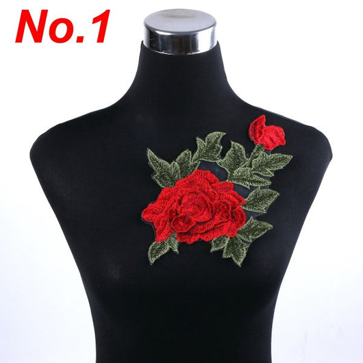 f61eec728ae0b 1pcs/lot Brand Patches Flowers Embroidered Patch Iron On Red Rose Fabr