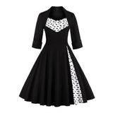 2017 50s Vintage Christmas Dress for Women Elegant Autumn Patchwork Dress Casual Evening Party Swing Plus Size Dress Vestidos