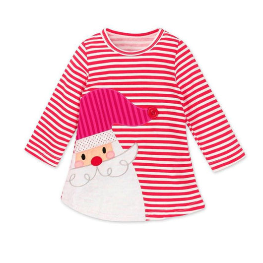 2018 Spring  Girls fashion   dress Kids Baby Girls Deer Striped Princess Dress Christmas Outfits Clothes    m19
