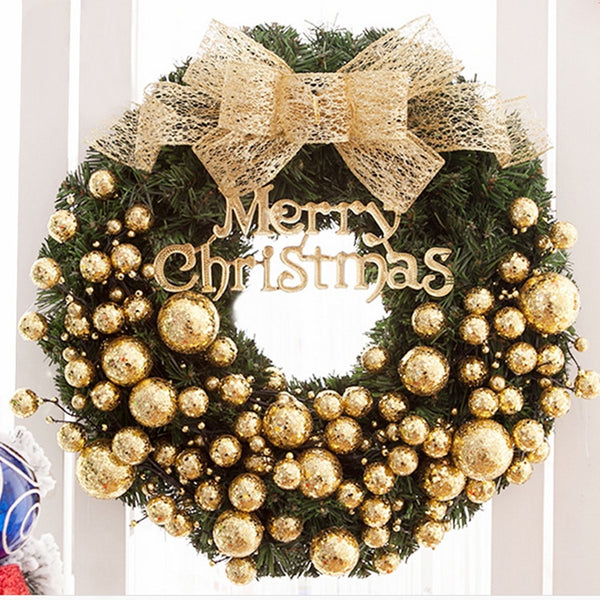 2020 New Decoration Xmas Party Hanging Pendant Craft Christmas Tree Handmade Christmas Wreath 30cm Door Window Garland Home