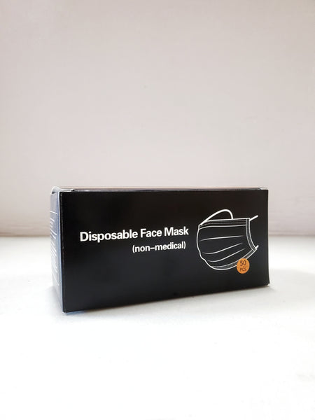 MASK 3 PLY Ear loop Black (NON-MEDICAL) NOIR MASQUE FACIAL JETABLE (50PCS) BLACK DISPOSABLE FACE