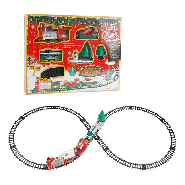 22 Classical Christmas Train Sets Children Small Train Track Toy Electric Light Music Christmas Train