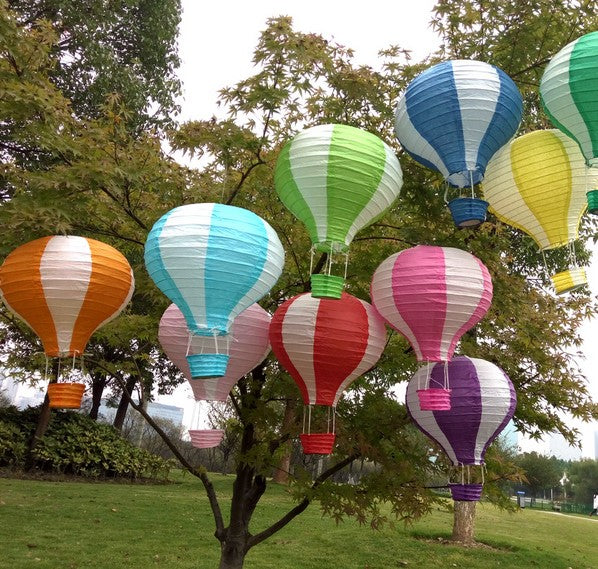 30pcs/lot 25cm=10 inch Hanging Wedding Rainbow Lanterns Hot Air Balloon Paper Lantern Birthday Party Decorations