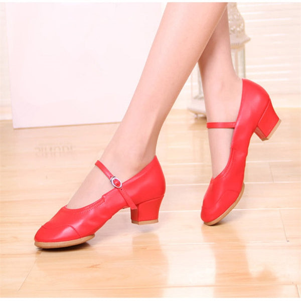 34-42 MoveFun New Soft Bottom Dance Shoes Women Social Square Dancing Shoes Black Red Girl Ballroom Latin Dance Mother Shoes #30