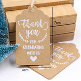 50PCS Multi Style Kraft Paper Tags Handmade/Thank You DIY Crafts Hang Tag With Rope Labels Gift Wrapping Supplies Wedding Favors