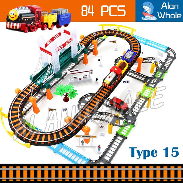 84pcs 3D Two-Layer Trains Sets Trackmaster Model Electric Flashing Rail Car Friends Children's Creative Toys Boys Girls