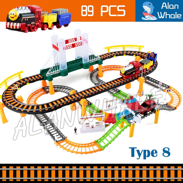 89pcs Elevated Rail Bridge Motorized Battery Train Set Track Electric Cars Transport Railway Thomas and Friends Family Toys