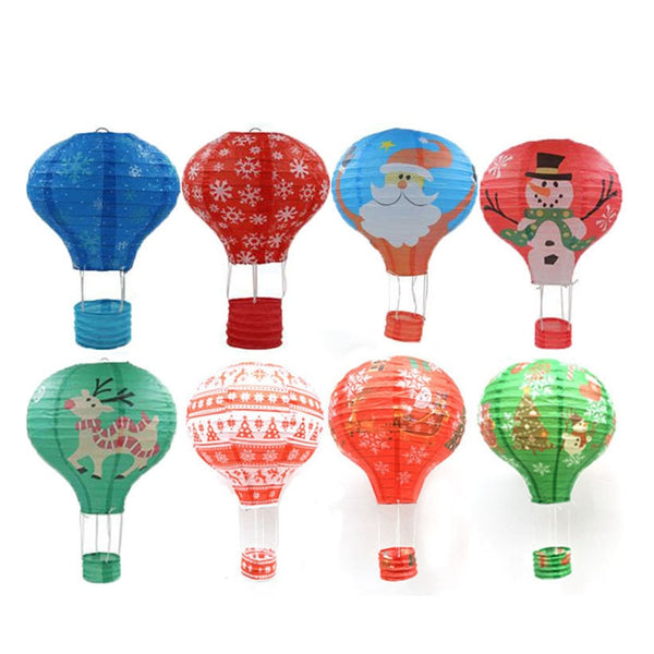 8pcs/lot Christmas Paper Lantern Decorations Lampion Christmas Party Lantern Lanterne Papier with Ceiling Hook and Hanging Line