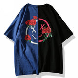 Aelfric Eden T-shirt Men Flower Printed T Shirts Hit Color Patchwork 2018 Summer Short Sleeve Lover Fashion Hip Hop Tshirts LQ12