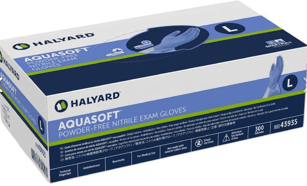 IN STOCK AQUASOFT* Nitrile Exam Glove Good buy 3x100 Gloves Powder Free Large Only