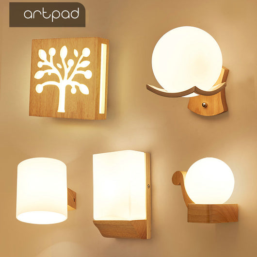 best authentic e2e19 7f03a Artpad Scandinavian Nordic Wall Wood Light Glass Lampshade Corridor Balcony  Bedside LED Side Wall Lamps Interior for Home Decor