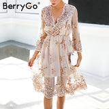 BerryGo V neck elegant long sleeve sequin party dress women Sexy mesh midi dress femme christmas dress vestido de festa