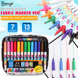Bianyo 7/13 Colors Fabric Textile Marker Watercolor Sketch Pen Set For Artist T-Shirt Painting Liner School Stationery Supplies