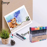 Bianyo Aquarelle Brush Marker Pen Sets 12/24/36/48/80 Colors School Office Students Artist Supplies Art Marker Painting Drawing