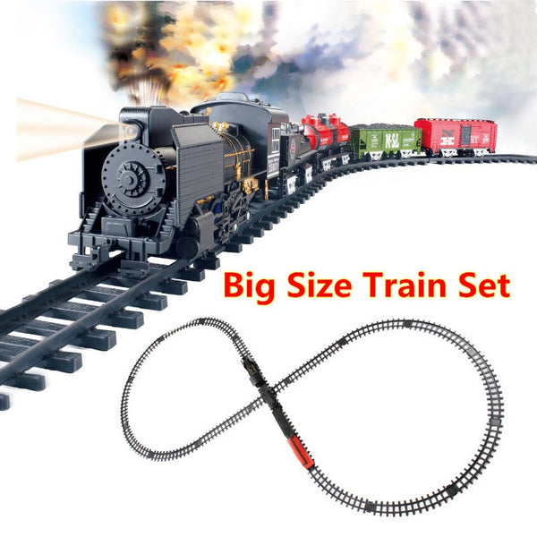 Big Size Classic toys Battery Operated Railway Rail Train with Sound&Smoking Electric Toy Railway Train Rail Car for Christmas
