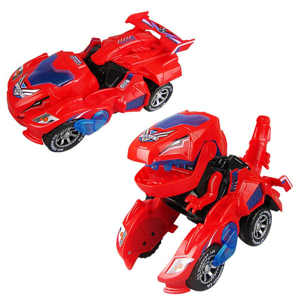 Cartoon Deformation Electric Dinosour Car Toy Universal Wheel Transformation Robot Vehicle With Light Sound Toys Christmas Gift