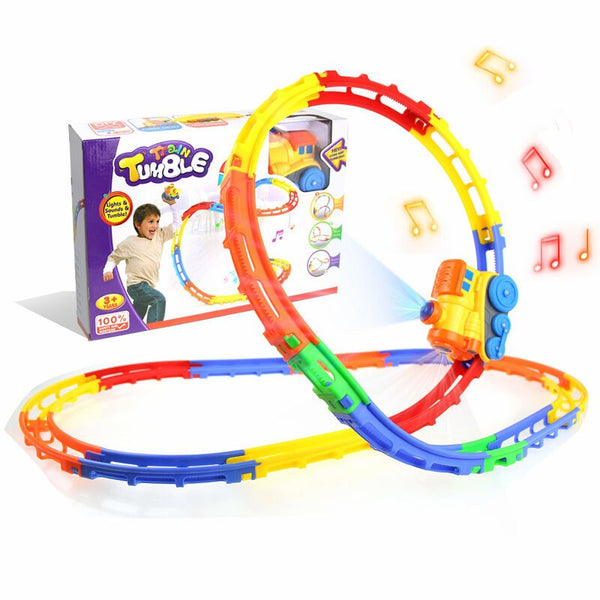 Cartoon Electric Track Train Children's Toy Music Light Flip Train Parent-child Interaction Educational Toys Christmas gifts