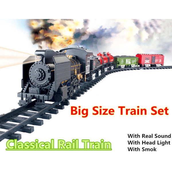 Christmas Big Size Classic toys Battery Operated Railway Rail Train 212*92 Electric Toy Railway Car with Sound Smoking Railcar