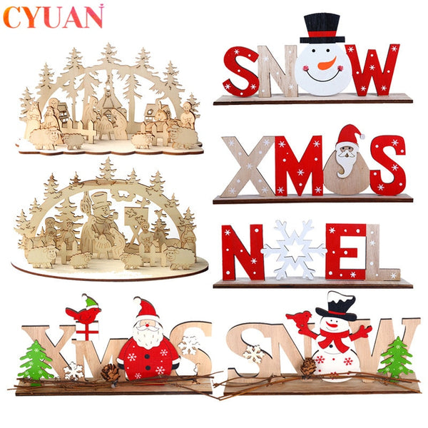 Christmas Decoracion Wooden Ornaments Santa Claus Tree Hanging Ornaments Xmas Navidad Decor Christmas Decorations for Home Noel