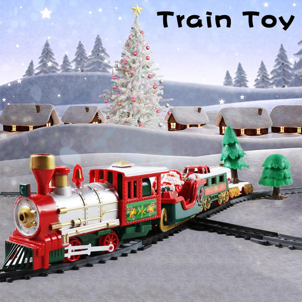 Christmas Electric Rail Car Retro Train Toy Children's Railway Train Set Non-remote Control Traffic Toy Christmas Birthday Gift