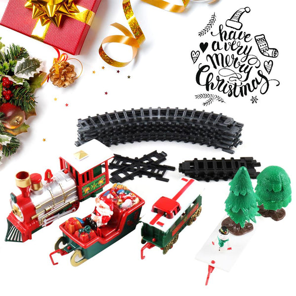 Christmas Electric Rail Car Train Toy Children's Electric Educational Railway Train Set Racing Road Transportation Building Toys