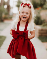 Christmas Girl Dresses Europe Style 2018 Winter Woolen Strap Dress Red Bow Princess Costume Vestidos Girls Party Clothes 2-7Y