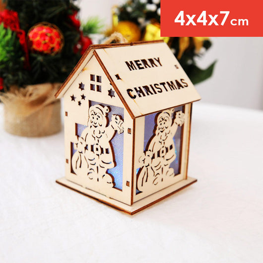 Hanging Christmas Decorations Diy.Christmas Ornaments Diy Luminous Cabin Led Light Wood House