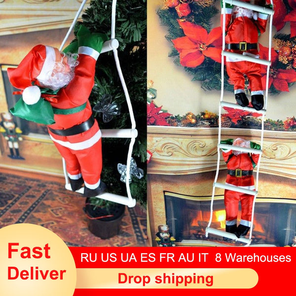 Christmas Santa Claus Climbing Stairs On Rope Ladder Xmas Trees Hanging Home Decor Gift for Christmas Decorations