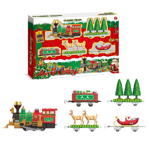 Christmas Train Chimney Smoke Electric Toys Electric Camera Track Car DIY Joint Camera Track Children Christmas Gift