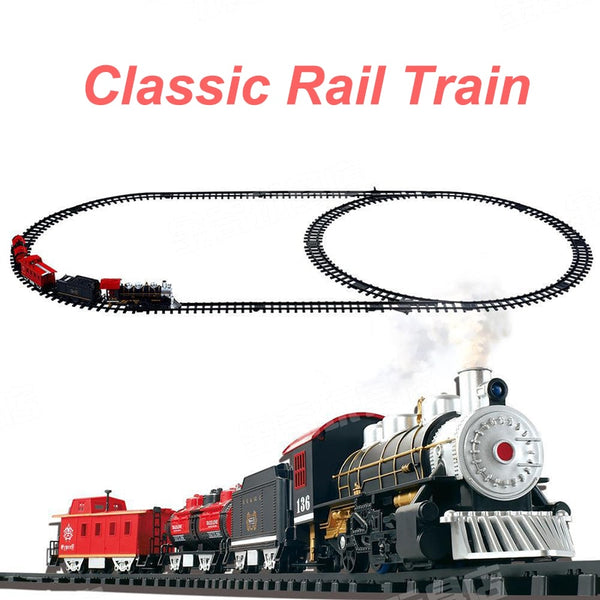 Classic toys Enlighten Train Battery Operated Railway Car Electric Train Set with Sound&Smok Rail Car Christmas Gift Kids Toys