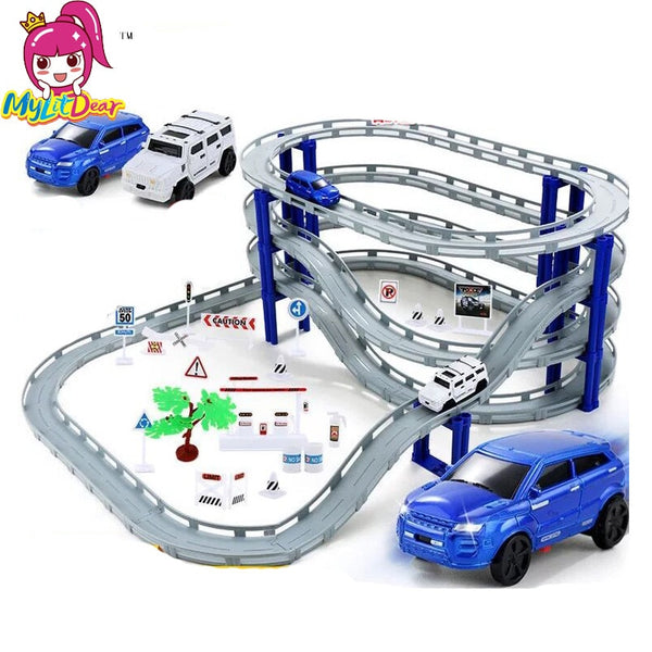DIY Electric Racing Rail Car Kids Train Track Model Slot Toy Baby Racing Car Multi Orbit Car Christmas Gift Children Puzzle toys