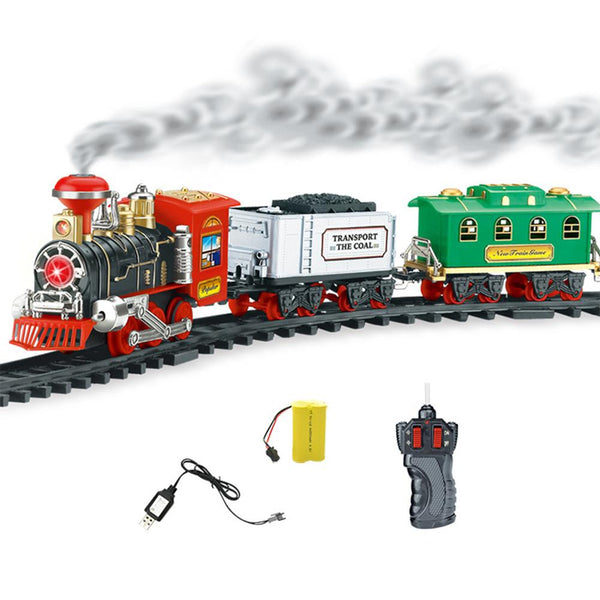Electric Orbit Track Train Toy Set Rechargeable Classic Steam Train Suit With Real Smoke Authentic Lights Sounds Christmas Gift
