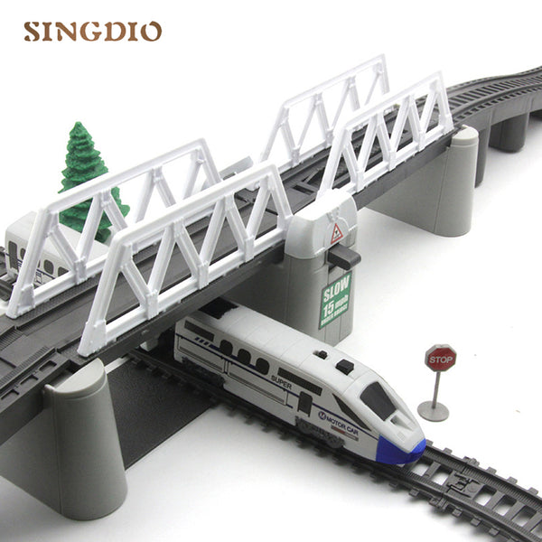 Electric Toy Train Track High Way Kids Train Model Toy Train for Kids Gift Christmas Long Track Set with Light Children's Toys