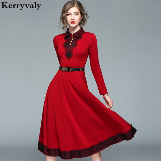 England Long Christmas Red Lace Dress Winter Dresses Women 2018 Long Sleeve Maxi Evening Party Dress Kerst Jurk Ropa Mujer K8925